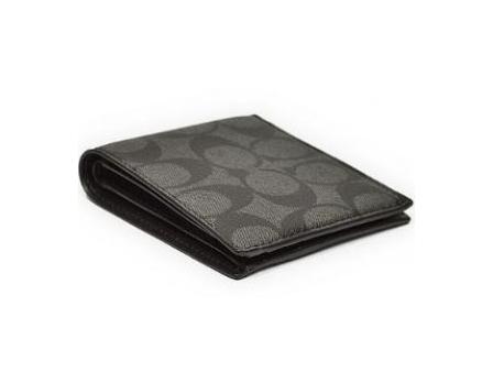 COACH壓紋兩折式小牛皮銀包 (F75083) – Charcoal Black1
