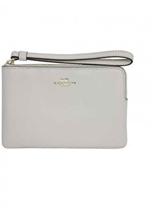 COACH L型拉鏈皮革手拿包 (F58032) –白色