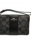COACH L型拉鏈皮革手拿包 (F58035) –Black Smoke Black