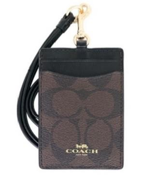 COACH 掛式證件卡套 – 棕黑色