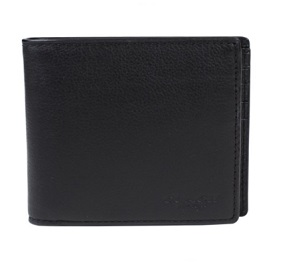 COACH 經典皮革壓紋兩折式小牛皮銀包(附卡夾) – 黑色