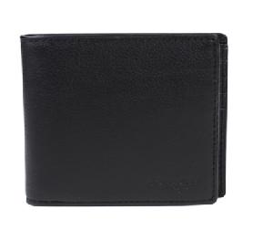 COACH 壓紋兩折式小牛皮銀包(附卡夾) (F74991)-黑色